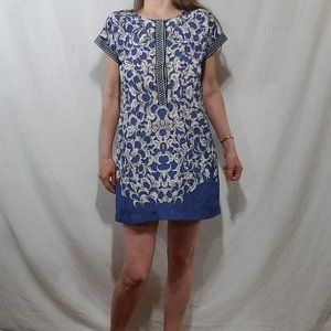 Nic+Zoe blue mini dress with print design
